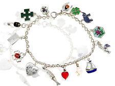 Jugendstil Silber emailliert Bettel Armband 15 Anhänger Glücksbringer um 1900