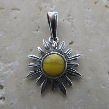 Natural, Butterscotch BALTIC AMBER Sun Pendant, solid 925 STERLING SILVER #1722