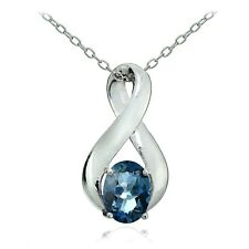 Sterling Silver London Blue Topaz Polished Infinity Necklace
