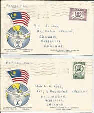 Malaya   1960   World Refugee Year   Forces Mail to Edgware GB  FDC   Cover x 2