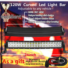 "20Inch Curved Flood Spot Led Work Light Bar Offroad Truck Jeep SUV 4WD 24"" 120W"