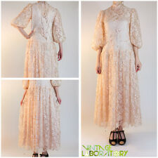 vintage pale peach pink sequined beaded victorian Rina di' Montella france sz 14