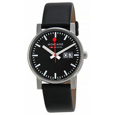Mondaine Evo Swiss Railway Big Date Black Dial Black Leather Mens Watch