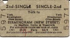 B.T.C. Edmondson Ticket - York to Birmingham New Street