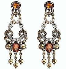 Vintage Gold Brown Crystal Large Statement Stud Dangle Chandelier Earrings UK Sh