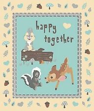 Happy Together - Bambi - Disney Cot Quilt Panel - Quilting Craft Panel Cotton