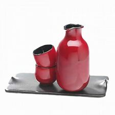 Dragon Red Sake Set with 2 Cups on Ceramic Tray by Judith Weber