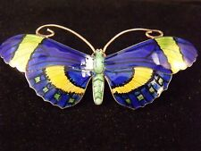 1930's JA&S Large Antique Silver Gilt Guilloche Enamel Butterfly Brooch/Pin