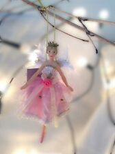 Gisela Graham Christmas Pink Fairy Princess Resin/Fabric Tree Decoration 15cm