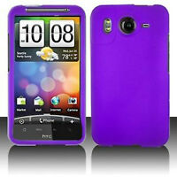 For HTC Inspire 4G Rubberized Hard Case Snap on Phone Cover Rubber Dark Purple