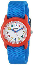 Timex Kids Red Resin Analog Watch with Blue Elastic Nylon Strap TW7B99500