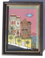 VTG SMALL Lithograph SAN FRANSICO Retro VICTORIAN Row HOUSES Print PICTURE