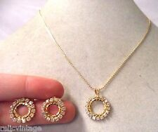 VINTAGE ESTATE GOLD TONE RHINESTONE PIERCED EARRINGS NECKLACE SET!!! WGA3249