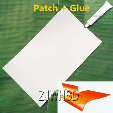 "9.4""x14"" Grayish PVC Patch + Glue for Inflatable Boat Kayak Bouncer Water Toy"