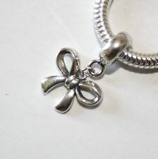 BOW-Ribbon-Butterfly knot-European charm bead/Pendant-Solid sterling silver 925