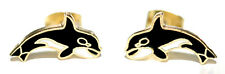 FUN GOLD TONE CLOISONNE WHALE STUD EARRINGS (S011)