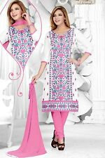 Radiant Cotton Embroidered Dress Material With Chiffon Dupatta D.NO MFK211