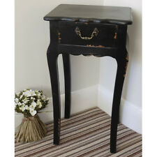 BLACK Shabby Chic Wooden Telephone Lamp End Table + Drawer Cabinet Furniture