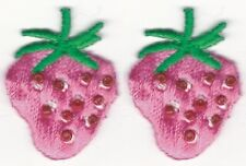"""3/4"""" x 1 1/4"""" Lot 2 Embroidery Bead Strawberry Fruit Sew on Patch"""