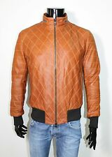 ITALIAN HANDMADE men LEATHER BOMBER JACKET QUILTED VINTAGE TAN WASHED size M