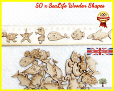 50 Sea life Shark Animal Wooden shapes Craft Scrapbooking MDF Wood Card making