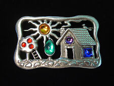"""JJ"" Jonette Jewelry Bright Silver Pewter 'Jeweled HOME & GARDEN' Pin"