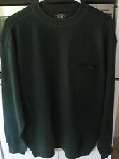PAUL & SHARK YACHTING ITALY 100% PURE WOOL GREEN CREW NECK SWEATER W/POCKET -MED
