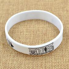 Anime One Piece  Silicon Wristband Black White Bracelet New Free Shipping