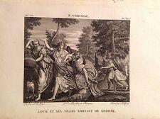 LOTH E LE SUE FIGLIE LASCIANO SODOMA Incisione originale XIX secolo  MITO