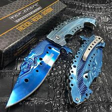 "Tac Force 5"" Closed Spring Assisted Folding Pocket Knife Mermaid Scales [Blue]"