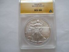 2009 silver eagle ms 68  anacs certified rim toning