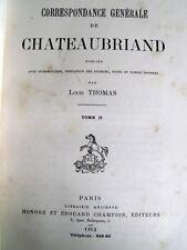 Correspondance générale  Chateaubriand ex n° 30/110  T2- Duras Récamier Pasquier