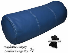 "EXCLUSIVE LUXURY GENUINE BLUE LEATHER ROUND CUSHION BOLSTER ROLL 9"" x 24"""