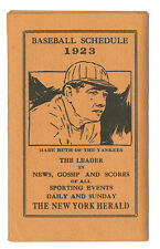 1923 New York Baseball Schedule Babe Ruth Giants Dodgers Yankees
