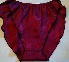 Garnet/Burgundy Silky Flutter Leg High Cut Bikini Panties Subtle Mickey Mouse