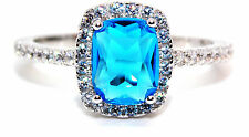 Sterling Silver London Blue Topaz And Diamond 1.89ct Ring (925) Size 7 (N)
