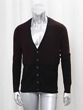 VINCE Mens Classic Black+Brown Colorblock Knit Long-Sleeve Cardigan Sweater M/L