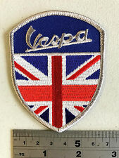 Vespa Union Jack Shield Patch  - Embroidered - Iron or Sew On