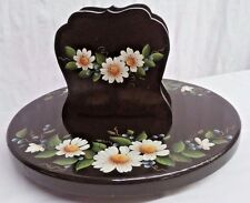 Fabulous Lazy Susan w/ Matching Napkin holder Wooden Painted Signed Blueberries