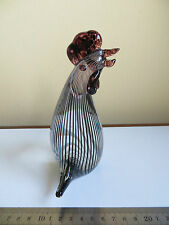 Art Glass Striped Black White & Clear Chicken Rooster Bird Murano Style? Hen