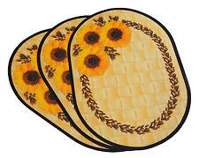 6x Platzdeckchen Sonnenblume, abwaschbar, oval, Tischset, Platzdecke, Platzmatte