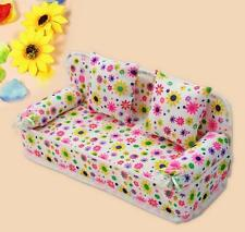 NEW Mini Furniture Sofa Couch +2 Cushions For Barbie Doll House Accessories KE