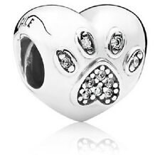 NEW AUTHENTIC PANDORA Sterling Silver I Love My Pets Dog or Cat Charm - 791713CZ
