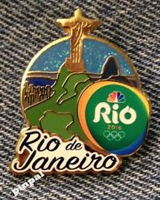 2016 Olympic NBC Media Pin Badge~Rio de Janeiro~Christ the Redeemer~Skyline