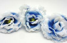 5X Blue White  Artificial flowers Carnations Party Wedding Decoration Dia 7.5cm