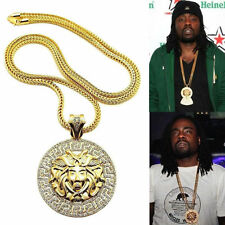 """MENS ICED OUT ROUND RAPPER MEDALLION PENDANT GOLD FRANCO CHAIN 36"""" NECKLACE"""