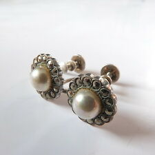 Antique Edwardian Silver Pearl Glass & Marcasite Daisy Screw Back Earrings
