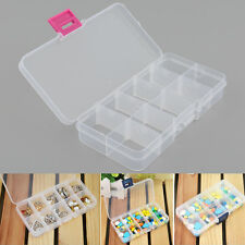 Plastic 10 Slots Compartment Adjustable Jewelry Earrings Storage Box Case