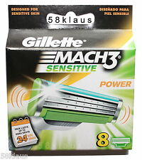 8 GILLETTE MACH3 MACH 3 SENSITIVE POWER Rasierklingen Klingen M3 NEU & OVP