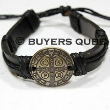 "St. Benedict Medal Leather Surfer Bracelet 7 3/4"" Adjustable Black"